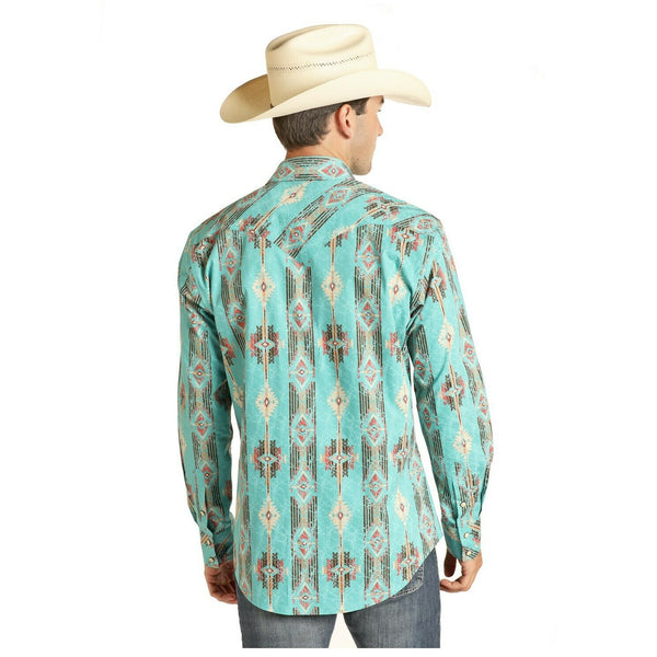 Panhandle Men's Blue Long Sleeve Distressed Aztec Poplin Shirt B2S4068