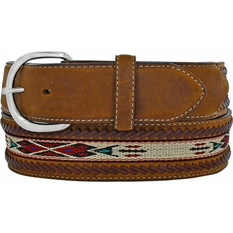 Silver Creek Men's Laced Edge Horse Hair Ribbon Bark Belt 5A109