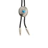 Double S Silver & Turquoise Oval Bolo Tie 22864