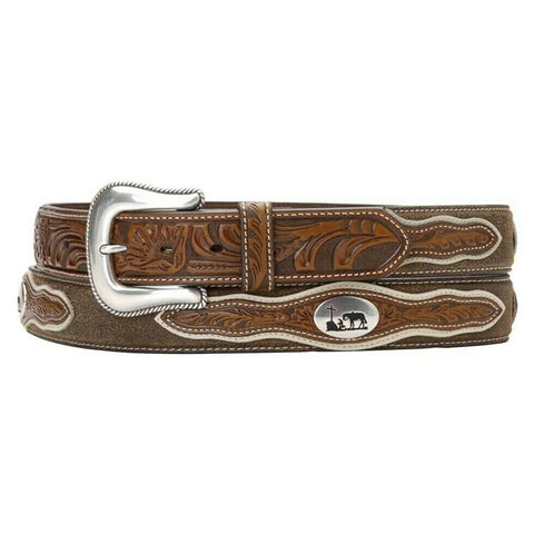 Nocona Men's Cowboy Prayer Concho Tooled Billets Brown Belt N2501208