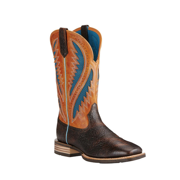 Ariat® Men''s Quickdraw VentTEK™ Glazed Bark/Sun Wide Square Toe Boots 10019985 - Wild West Boot Store