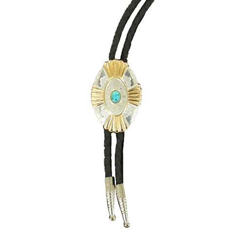 Double S Silver & Gold Cross w/ Turquoise Stone Concho Bolo Tie 22113