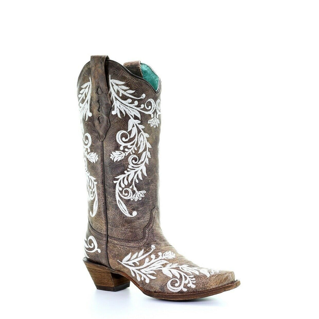 a0e46ba2610 Corral Ladies Brown & White Embroidery Boots A3753