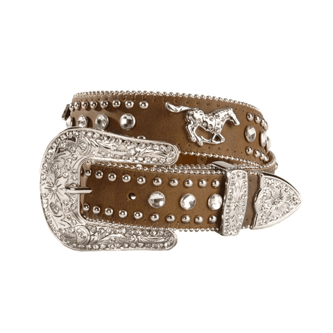 Nocona Children's Brown Running Horse Rhinestone Belt N4427644