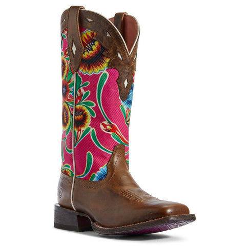 Ariat® Ladies Pink Oil Cloth & Brown Circuit Champion Boots 10031636