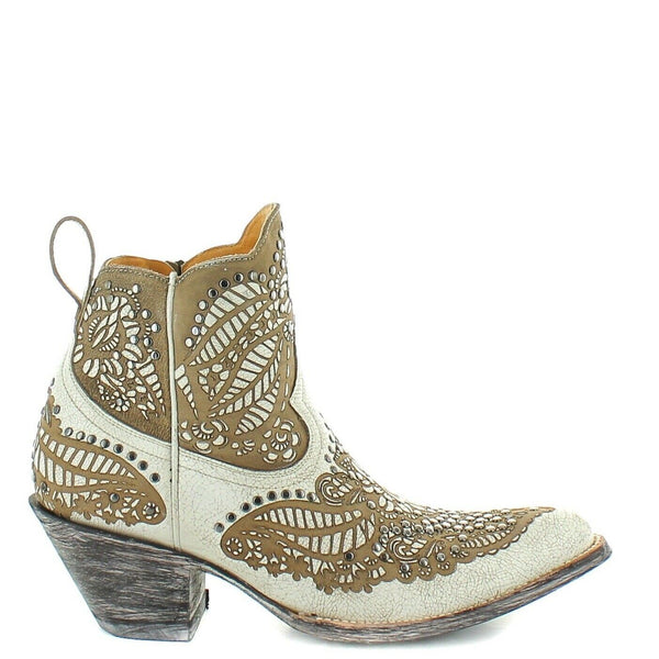 Old Gringo Ladies Gillian Crackled Taupe Studs Shortie Boots BL3189-2