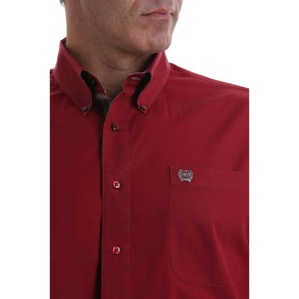 Cinch Men's Solid Burgundy Long Sleeve Button-Down Shirt MTW1105071