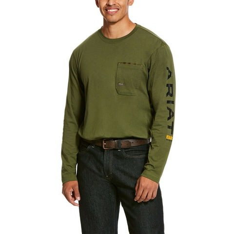 Ariat® Men's Pine Green Long Sleeves Rebar Logo T-Shirt 10027849