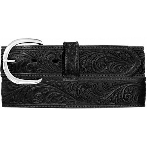 Justin Men's Silver Buckle Black Western Scroll Tooled Belt 53903