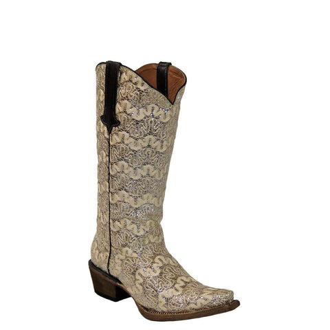 Tanner Mark Ladies Horma Full Glitter Dragon Beige Boots TML 200488 - Wild West Boot Store