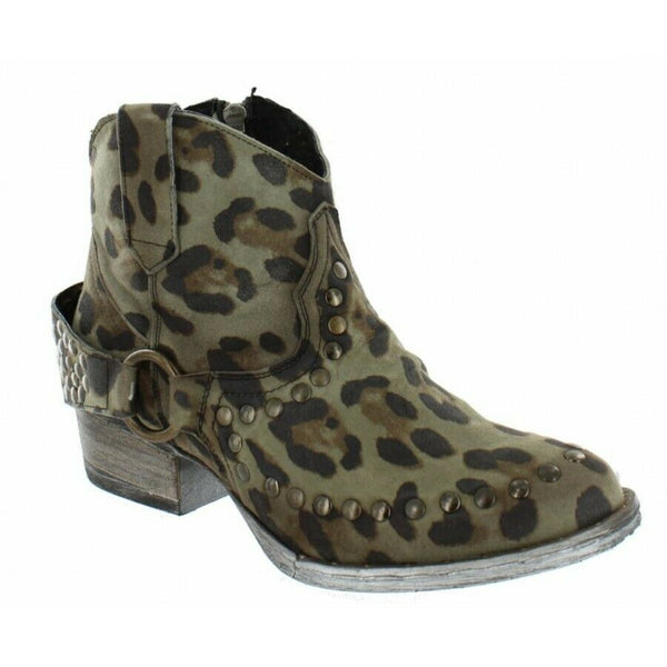 Circle G by Corral Ladies Black & Green Leopard Ankle Boots Q5080