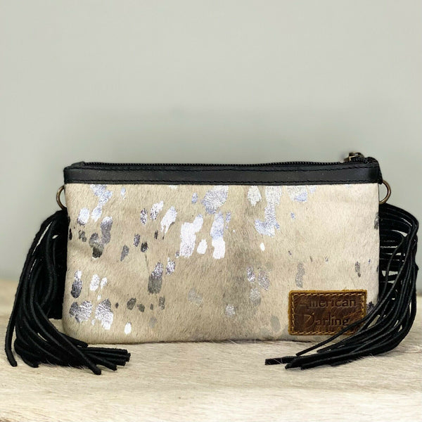 American Darling White and Silver Cowhide Crossbody ADBGS142ACSLFRNG