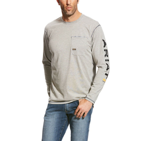 Ariat® Men's Rebar Workman Grey Long Sleeve Logo T-Shirts 10023918