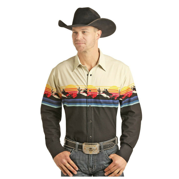Panhandle Select Men's Bull Rider Sunset Scenic Border Shirt 30S3051