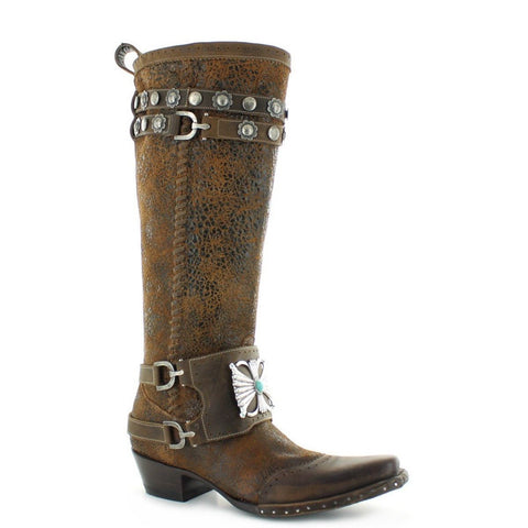 Double D Ranch Ladies Bow Guard Crackled Rust Knee-High Boots DDL003-1 - Wild West Boot Store