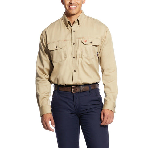 Ariat® Men's FR Flame Resistant Solid Vent Khaki Work Shirt 10025402
