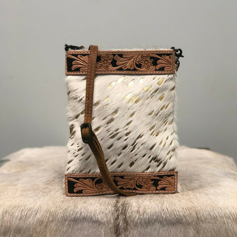 American Darling Gold and White Cowhide Crossbody ADBG336