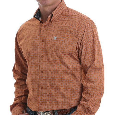 Cinch Men's Woven Print Brown Long Sleeve Button-Down Shirt MTW1105093