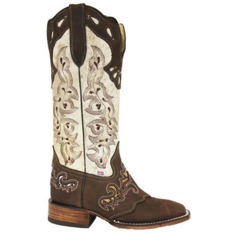 RockinLeather Ladies Distressed White/Brown Boot 2157 - Wild West Boot Store