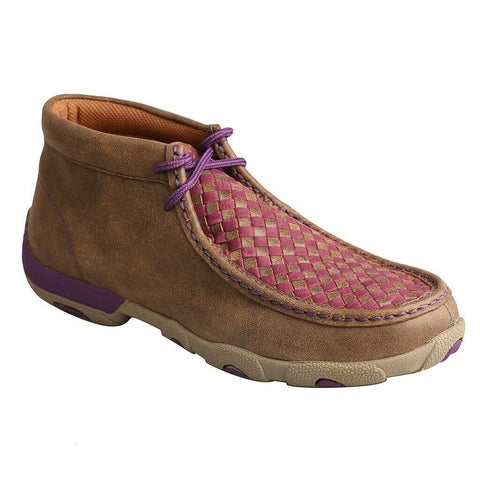 Twisted X Ladies Chukka Brown & Purple Basket Weave Driving Moc WDM0042