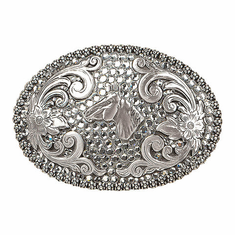 Nocona Ladies Silver & Crystal Horse Belt Buckle 37536