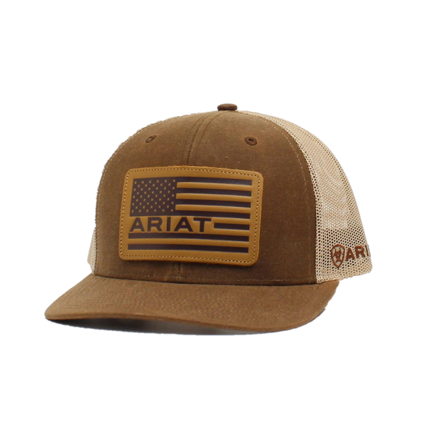 Ariat Mens Oilskin Leather USA Flag Patch Snapback Ball Cap A300008902