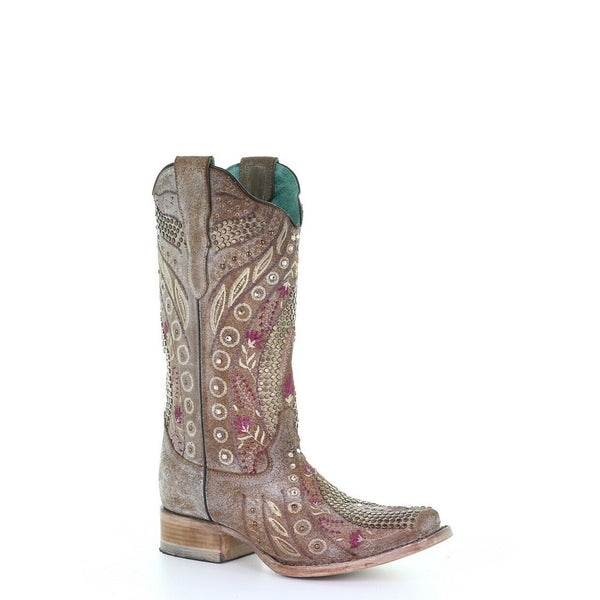 Corral Ladies Taupe Flowered Embroidery & Crystal Studs Boots E1520