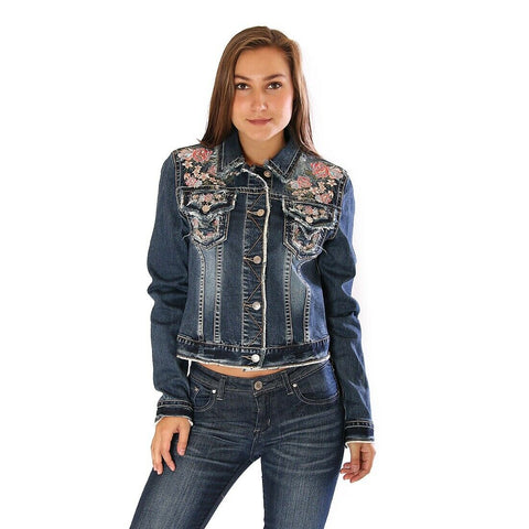 Grace in L.A. Blue Floral Emroidery Distressed jacket T61253