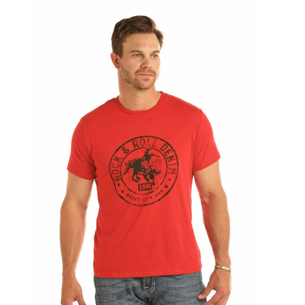 Rock & Roll Cowboy Men's Red Rider Graphic Tee Shirts P9-1084