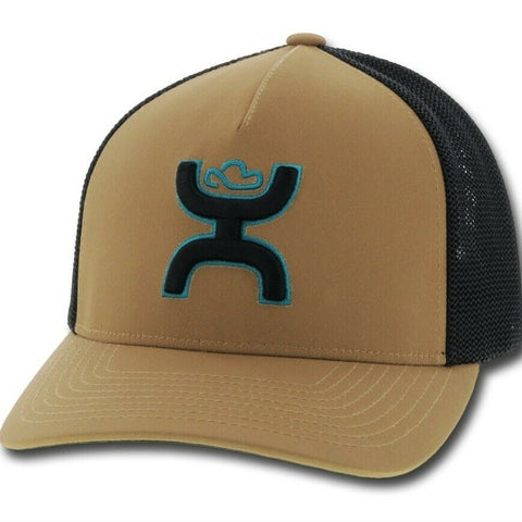 Hooey Coach Tan & Black Flexfit Hat w/ Turquoise embroidery 2012TNBK