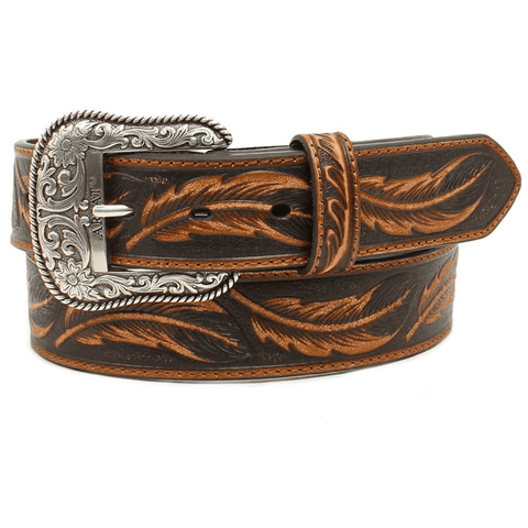 Ariat Men's Brown Feather Embossed Leather Belt A1029608