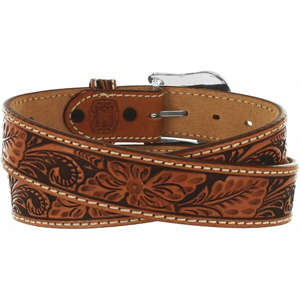 Tony Lama Men's Floral Filigree Tooled Tan Leather Belt C40064