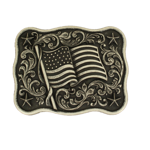 Nocona Mens Pewter American Flag Belt Buckle 37406