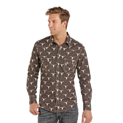 Rock & Roll Cowboy Men's Dark Grey With Steer Skull Shirt B2S8012