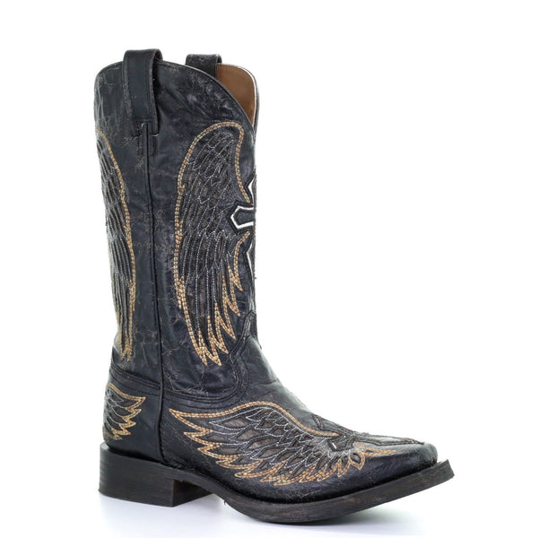 Corral Men's Black & Gold Wing & Cross Square Motorcycle Boots A3723