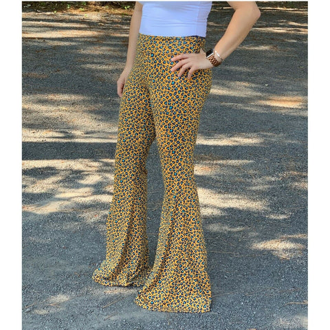 Turquoise Haven Ladies Mustard Teal Cheetah Bell Bottom Pants 8007