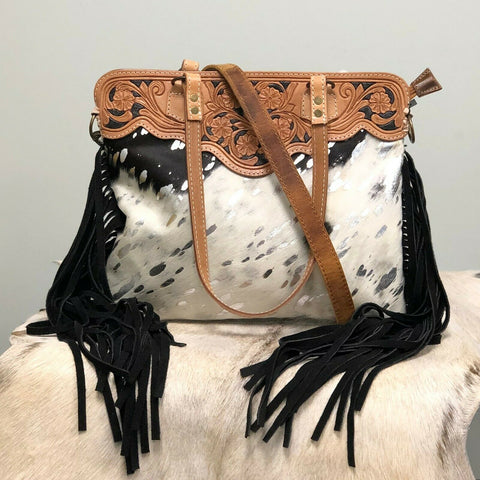 American Darling Black and White Cowhide Fringe Purse ADBGS144ACSL