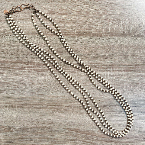 West & Co Ivory and Brown Beaded Necklace N1089CRM