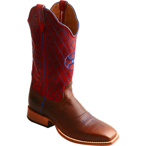 Twisted X Ladies Hooey Red & Brown Diamond Stitch Boots WHY0007