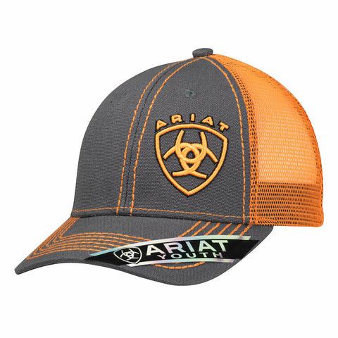 Ariat Youth Unisex Orange Signature Logo Snapback Ball Cap 1514326