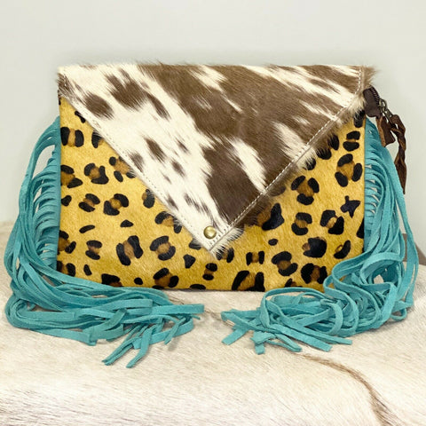 American Darling Cheetah and Cowhide with Fringe Crossbody ADBG490CHE