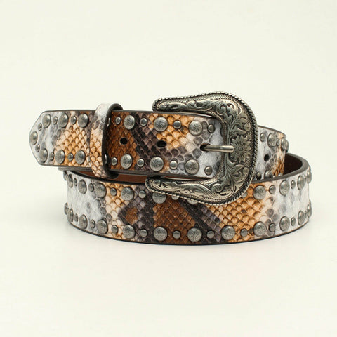 Angel Ranch by 3D Ladies Python Print & Studs Leather Belt D140000902