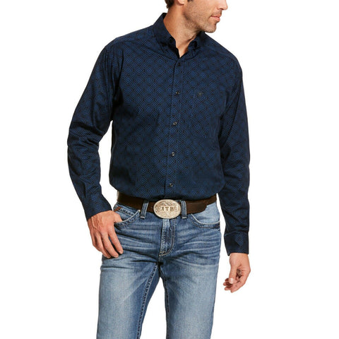 Ariat® Men's Navy Darbro Stretch Classic Long Sleeve Shirt 10028826