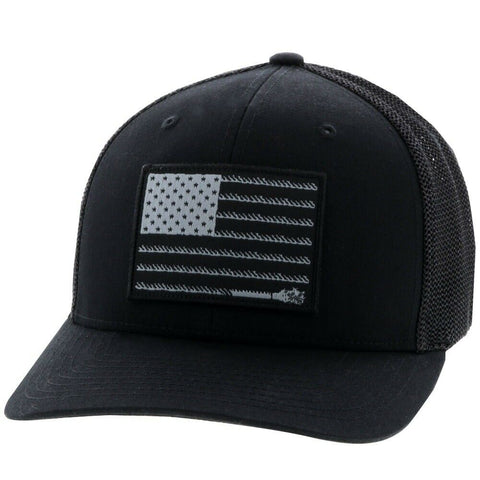 Hooey Liberty Roper Black Flexfit Hat w/ Flag Patch 2010BK