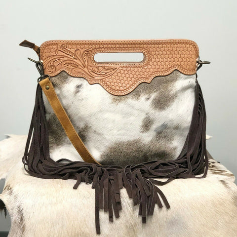 American Darling Brown and White Cowhide Fringe Purse ADBGS145BRW