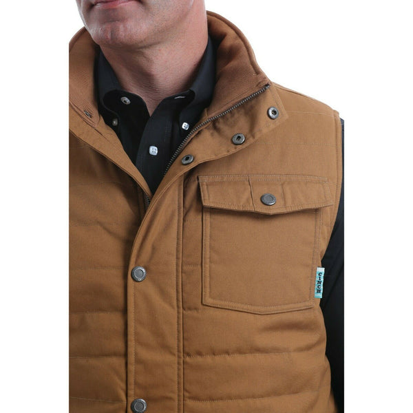 Cinch Men's Quilted Wax Coated Canvas Brown Polyfill Vest MWV1532001