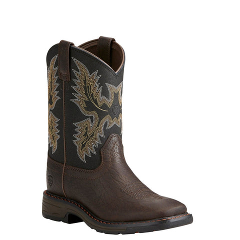 Ariat® Children's Workhog Wide Square Toe Brown & Black Boots 10021452 - Wild West Boot Store