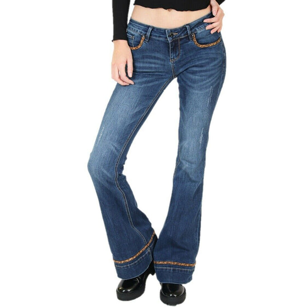 Grace in L.A. Ladies Leopard Print Detailed Flare Jeans EL2756