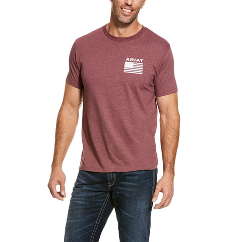 Ariat® Men's Freedom Burgundy Flag Short Sleeve T-Shirt 10028975
