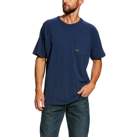 Ariat® Men's Rebar CottonStrong Navy Short Sleeve T-Shirt 10025378